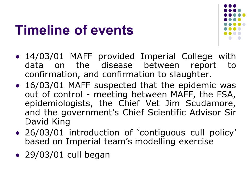 Timeline of events 14/03/01 MAFF provided Imperial College with data on the disease between report to confirmation, and confirmation to slaughter.