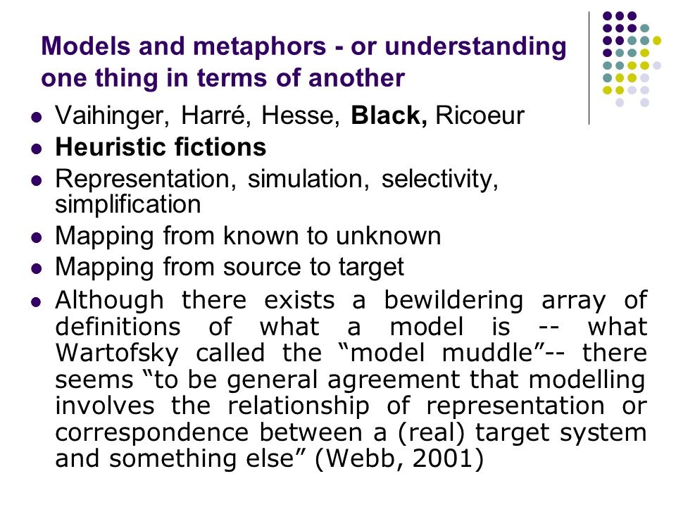 Models and metaphors - or understanding one thing in terms of another Vaihinger, Harré, Hesse, Black, Ricoeur Heuristic fictions Representation, simulation, selectivity, simplification Mapping from known to unknown Mapping from source to target Although there exists a bewildering array of definitions of what a model is -- what Wartofsky called the model muddle -- there seems to be general agreement that modelling involves the relationship of representation or correspondence between a (real) target system and something else (Webb, 2001)
