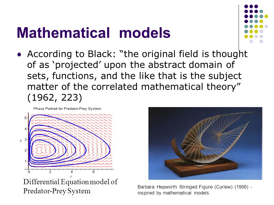 Mathematical models According to Black: the original field is thought of as 'projected' upon the abstract domain of sets, functions, and the like that is the subject matter of the correlated mathematical theory (1962, 223) Differential Equation model of Predator-Prey System Barbara Hepworth Stringed Figure (Curlew) (1956) - inspired by mathematical models