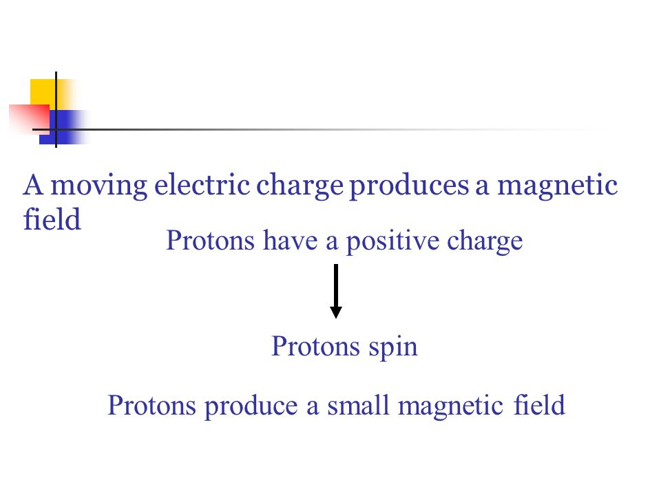 A moving electric charge produces a magnetic field Protons have a positive charge Protons spin Protons produce a small magnetic field