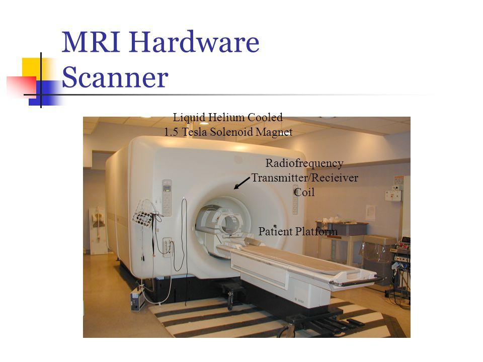 MRI Hardware Scanner Liquid Helium Cooled 1.5 Tesla Solenoid Magnet Patient Platform Radiofrequency Transmitter/Recieiver Coil