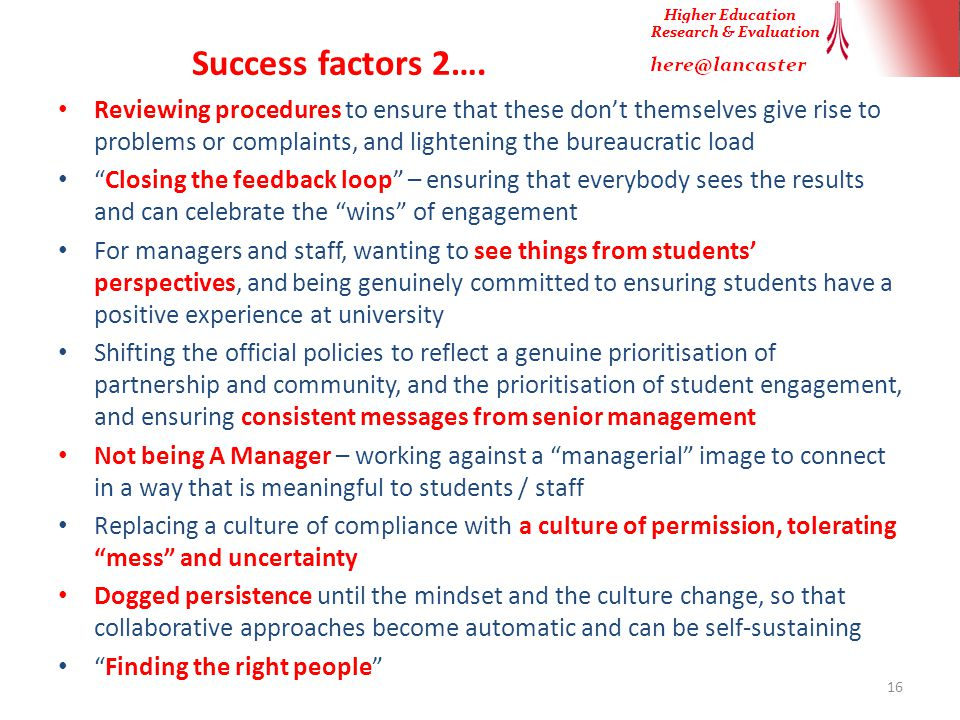 Success factors 2….