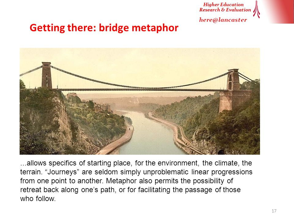Getting there: bridge metaphor 17...allows specifics of starting place, for the environment, the climate, the terrain.