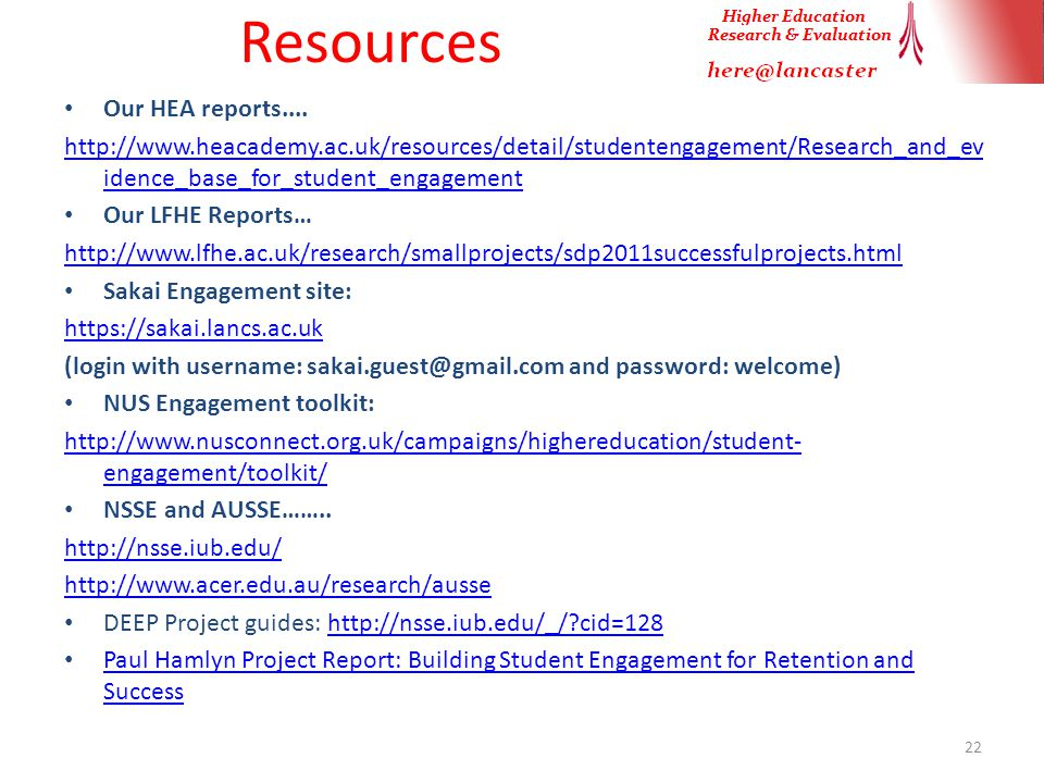 Resources Our HEA reports....