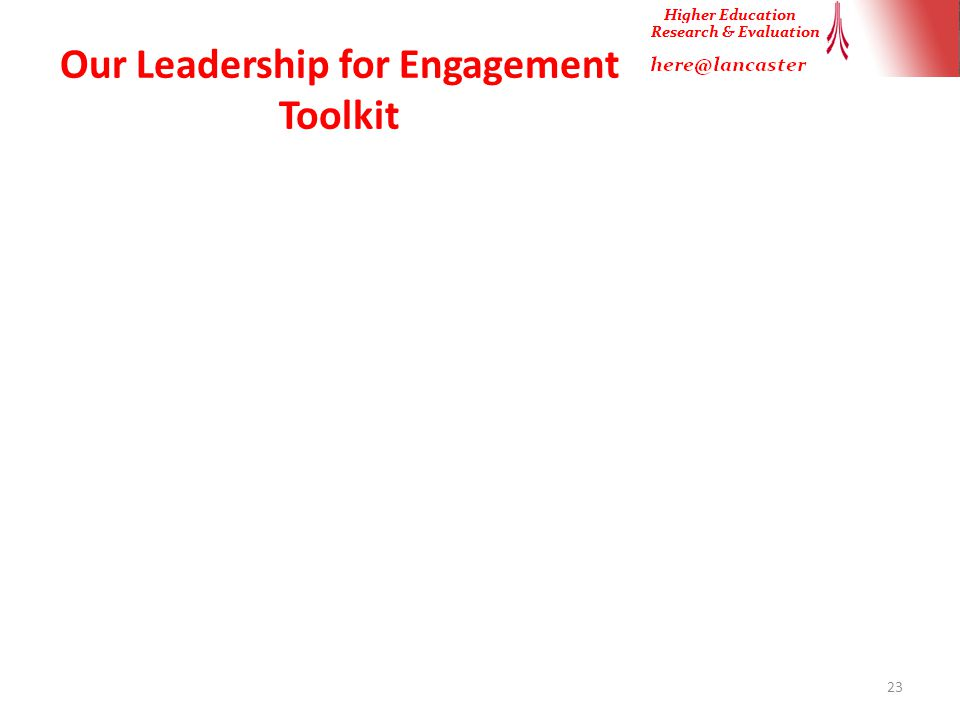 Our Leadership for Engagement Toolkit 23