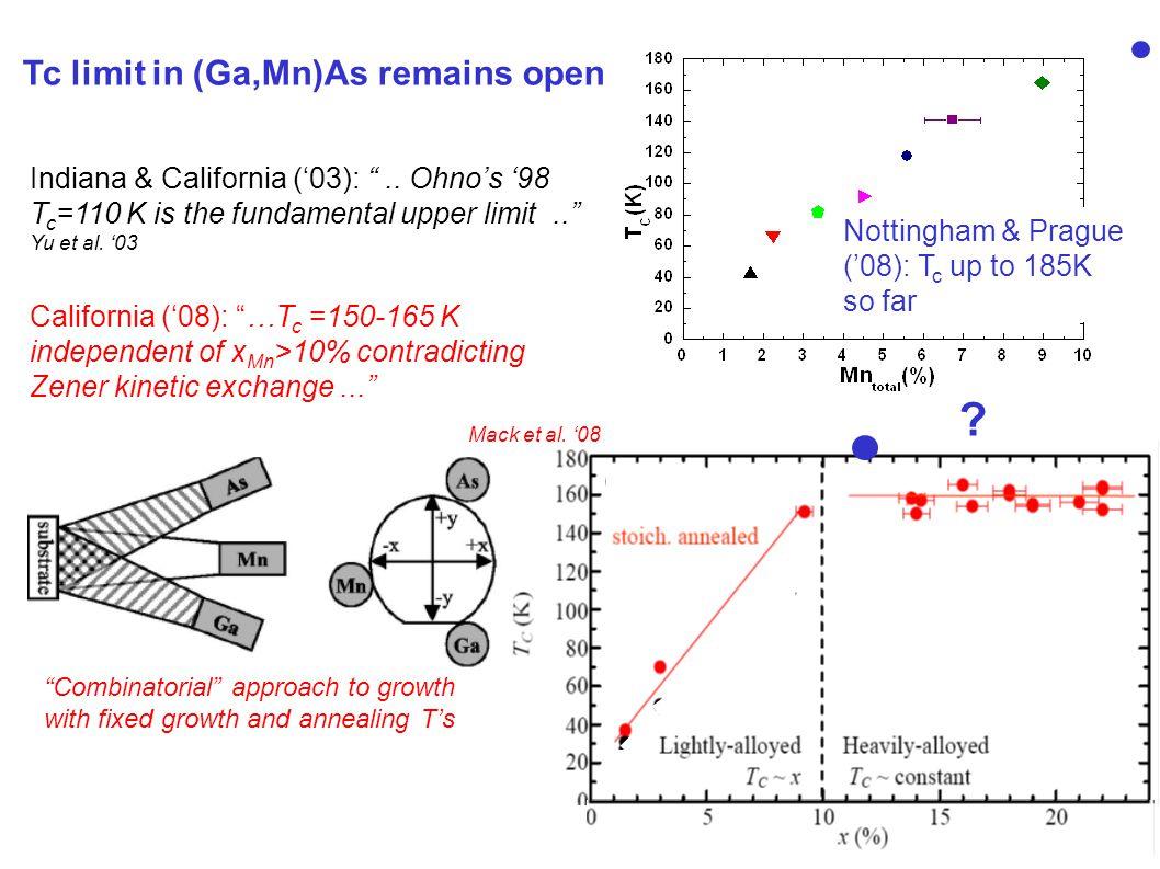 Indiana & California ('03): .. Ohno's '98 T c =110 K is the fundamental upper limit.. Yu et al.