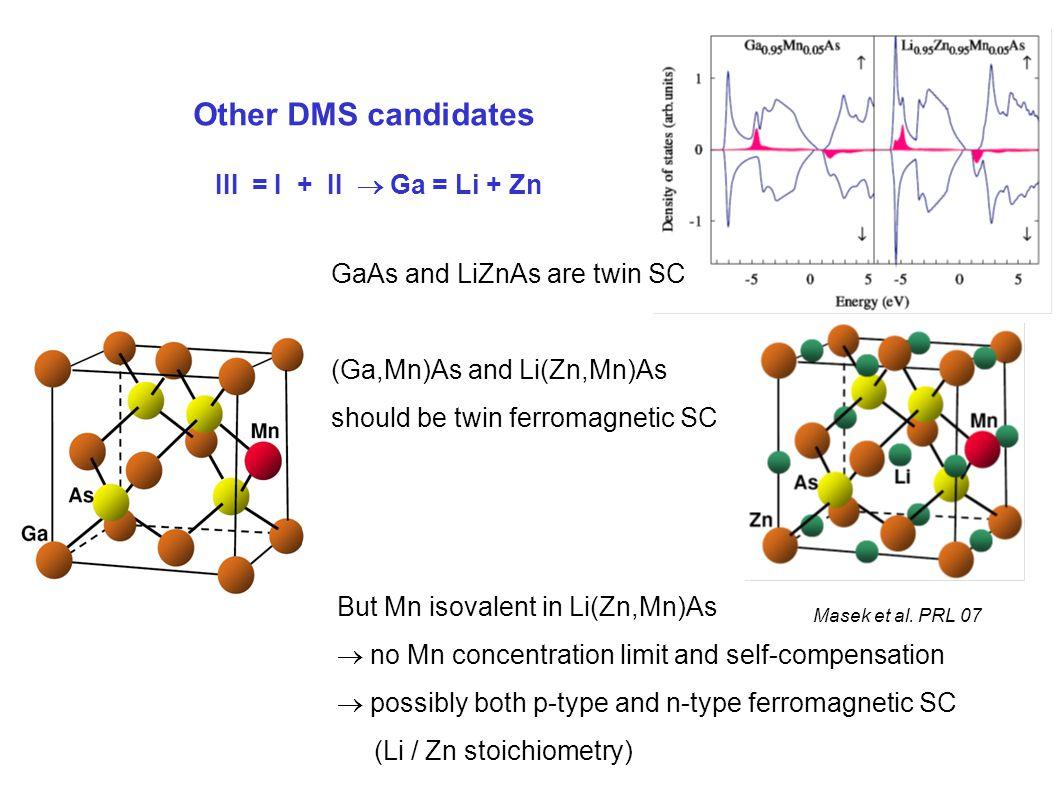 III = I + II  Ga = Li + Zn Other DMS candidates Masek et al.