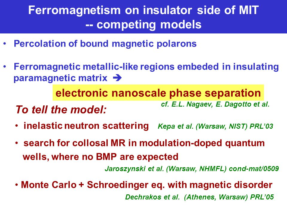 Ferromagnetism on insulator side of MIT -- competing models Percolation of bound magnetic polarons Ferromagnetic metallic-like regions embeded in insulating paramagnetic matrix  electronic nanoscale phase separation To tell the model: inelastic neutron scattering Kepa et al.