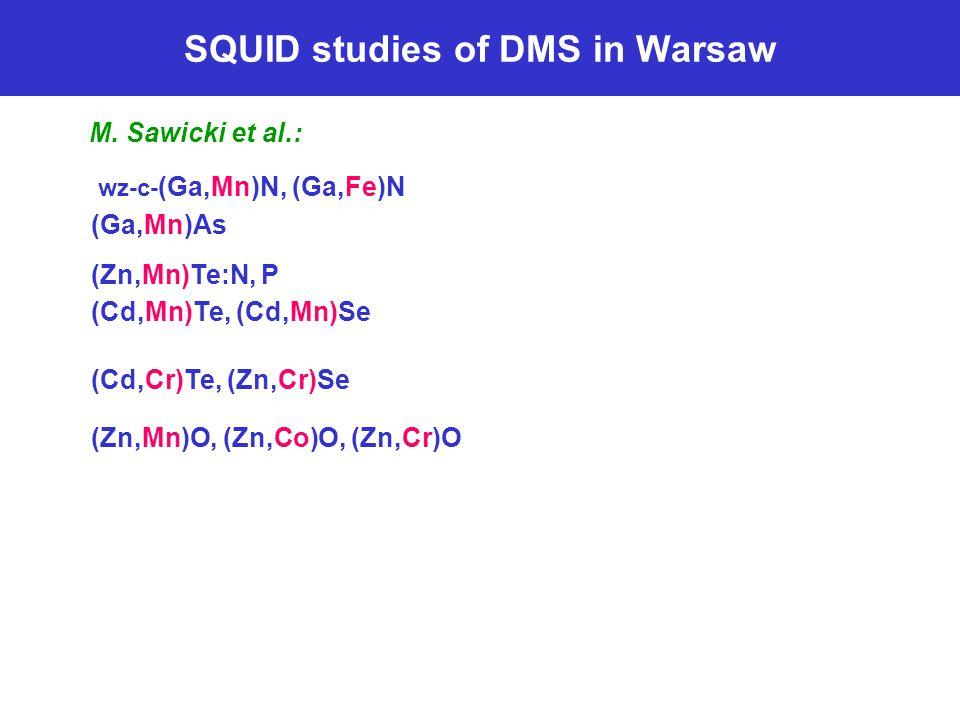 SQUID studies of DMS in Warsaw M. Sawicki et al.: wz-c- (Ga,Mn)N, (Ga,Fe)N (Ga,Mn)As (Zn,Mn)Te:N, P (Cd,Mn)Te, (Cd,Mn)Se (Cd,Cr)Te, (Zn,Cr)Se (Zn,Mn)O