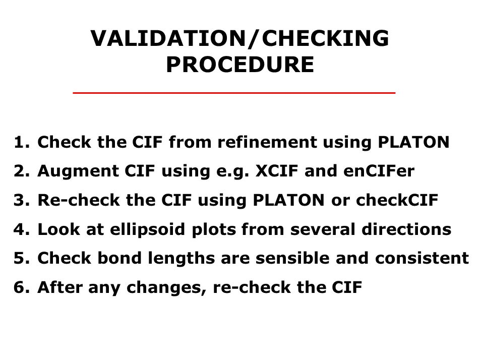 1.Check the CIF from refinement using PLATON 2.Augment CIF using e.g.