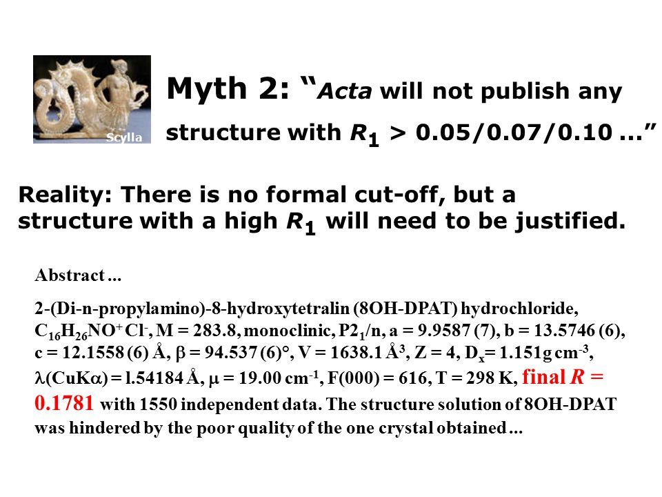 Scylla Myth 2: Acta will not publish any structure with R 1 > 0.05/0.07/0.10... Reality: There is no formal cut-off, but a structure with a high R 1 will need to be justified.