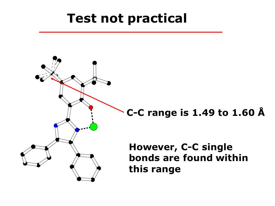 Test not practical C-C range is 1.49 to 1.60 Å However, C-C single bonds are found within this range