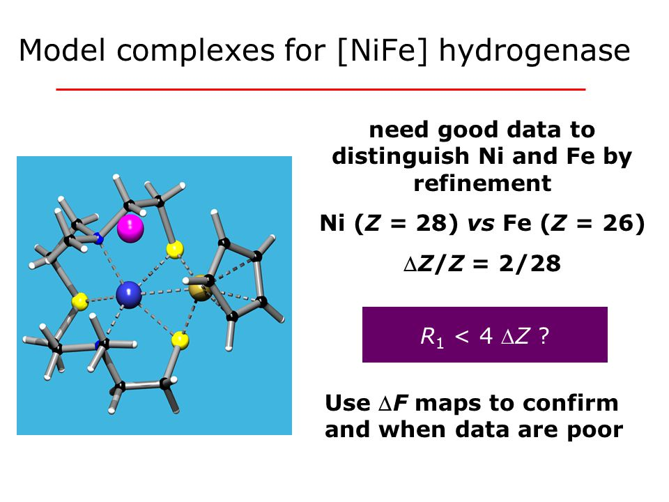 need good data to distinguish Ni and Fe by refinement Ni (Z = 28) vs Fe (Z = 26) Z/Z = 2/28 M.