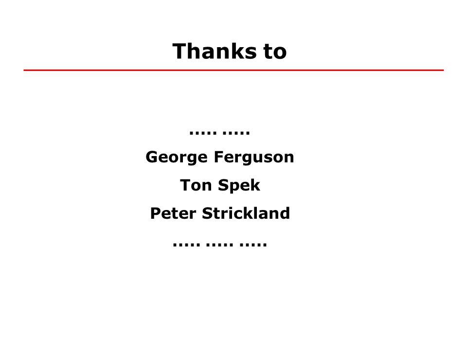 Thanks to..... George Ferguson Ton Spek Peter Strickland...............