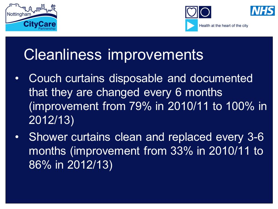 Cleanliness improvements Couch curtains disposable and documented that they are changed every 6 months (improvement from 79% in 2010/11 to 100% in 2012/13) Shower curtains clean and replaced every 3-6 months (improvement from 33% in 2010/11 to 86% in 2012/13)