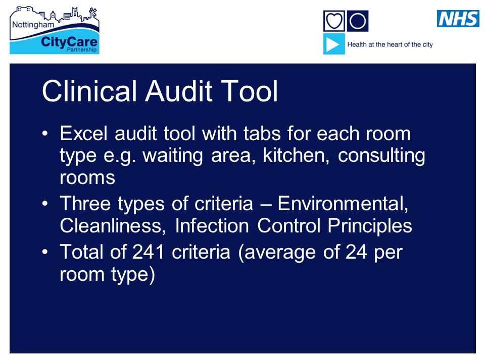 Clinical Audit Tool Excel audit tool with tabs for each room type e.g.