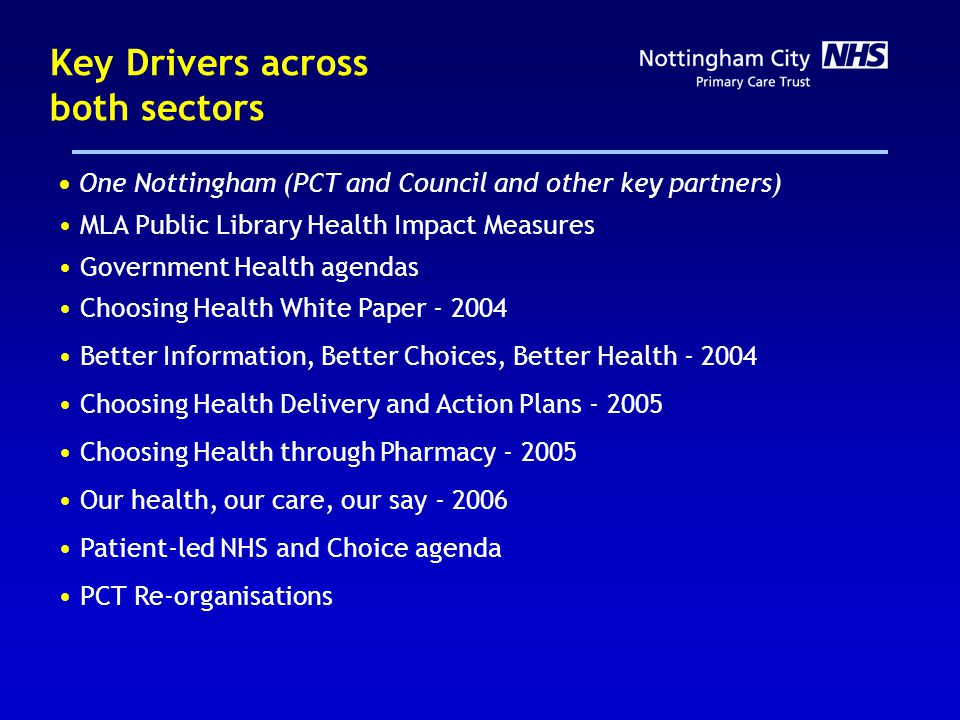 Key Drivers across both sectors One Nottingham (PCT and Council and other key partners) MLA Public Library Health Impact Measures Government Health agendas Choosing Health White Paper - 2004 Better Information, Better Choices, Better Health - 2004 Choosing Health Delivery and Action Plans - 2005 Choosing Health through Pharmacy - 2005 Our health, our care, our say - 2006 Patient-led NHS and Choice agenda PCT Re-organisations