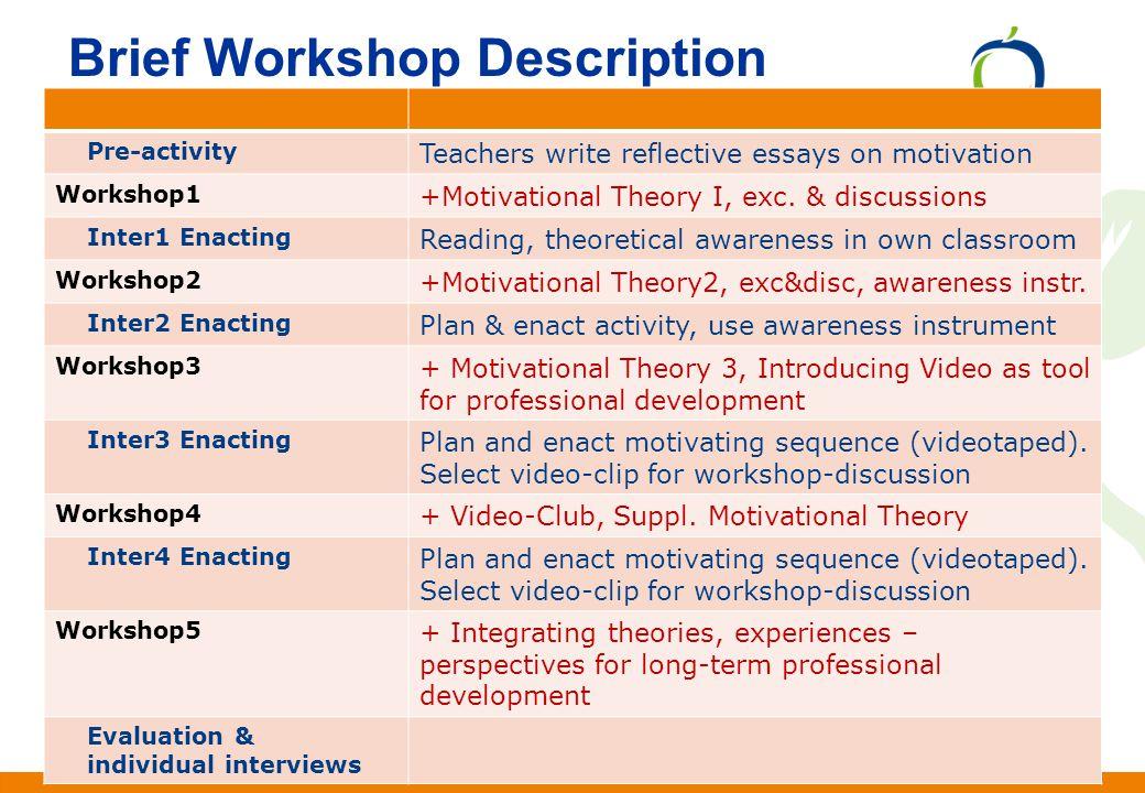 Anden information Andersen & Krogh Nottingham, UK, Jan. 2010 Brief Workshop Description Pre-activity Teachers write reflective essays on motivation Wo