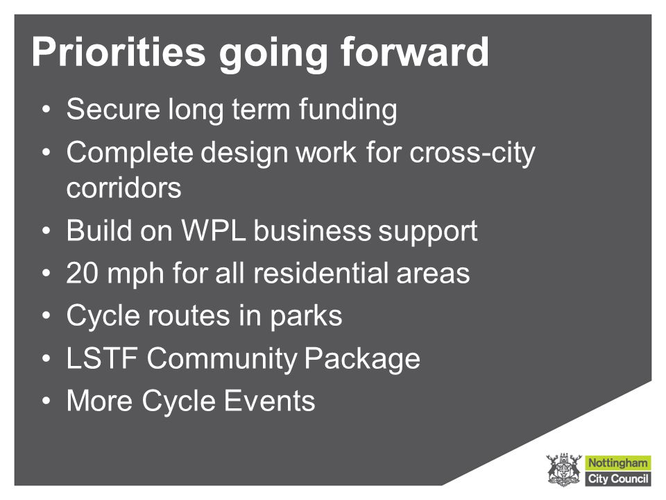 Priorities going forward Secure long term funding Complete design work for cross-city corridors Build on WPL business support 20 mph for all residential areas Cycle routes in parks LSTF Community Package More Cycle Events