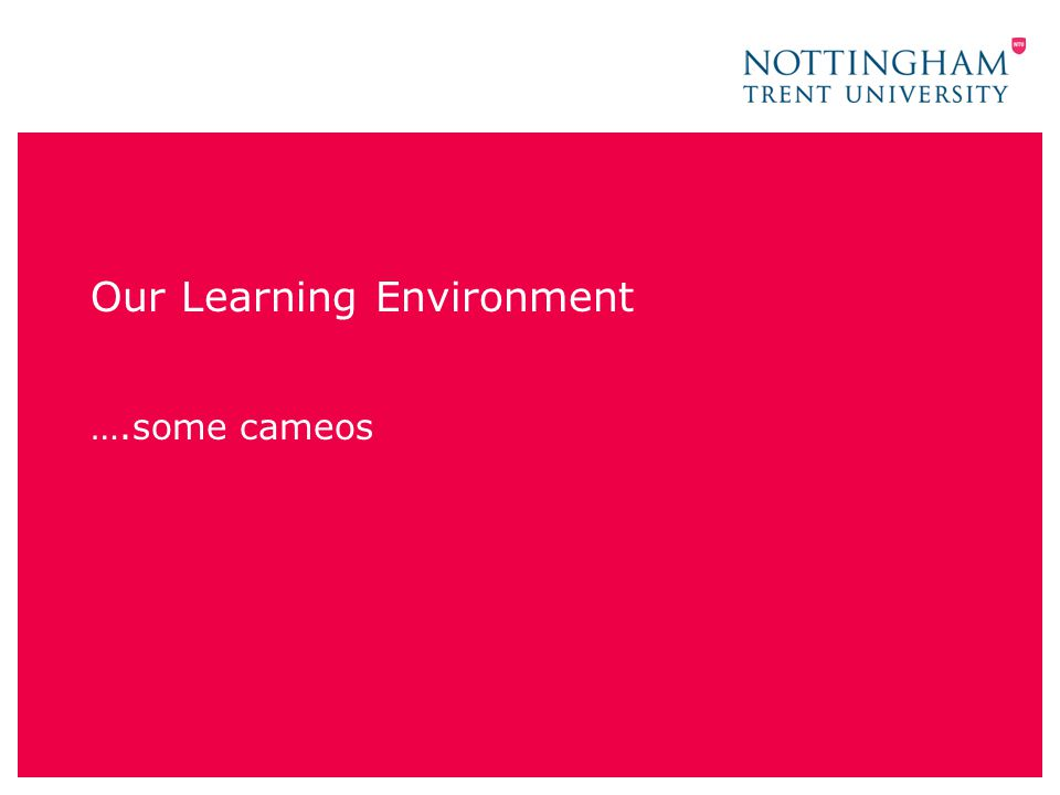 Our Learning Environment ….some cameos
