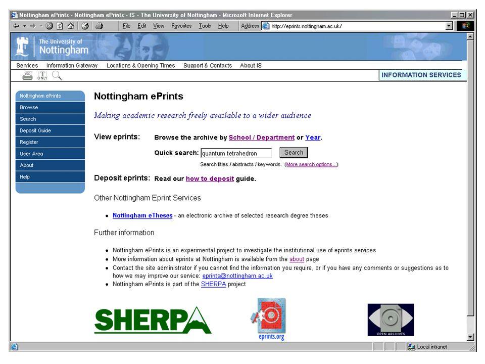 Nottingham eprints - simple search