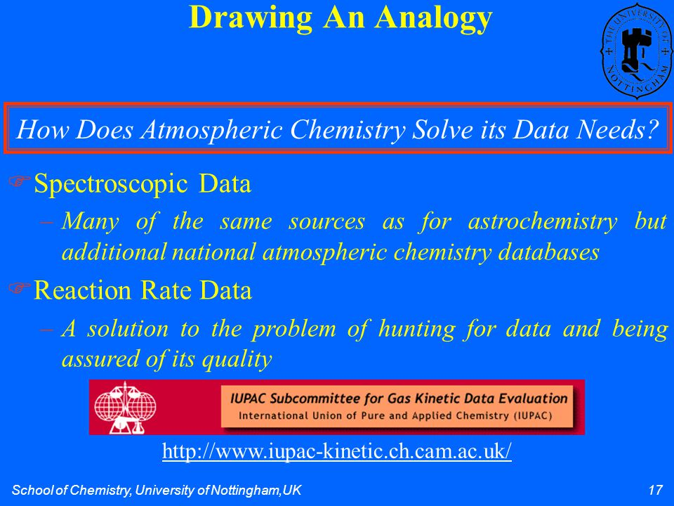 School of Chemistry, University of Nottingham,UK 17 Drawing An Analogy  Spectroscopic Data –Many of the same sources as for astrochemistry but additi
