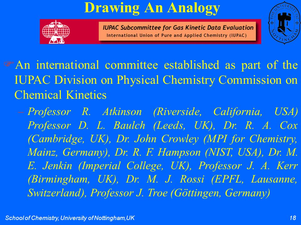 School of Chemistry, University of Nottingham,UK 18 Drawing An Analogy  An international committee established as part of the IUPAC Division on Physi