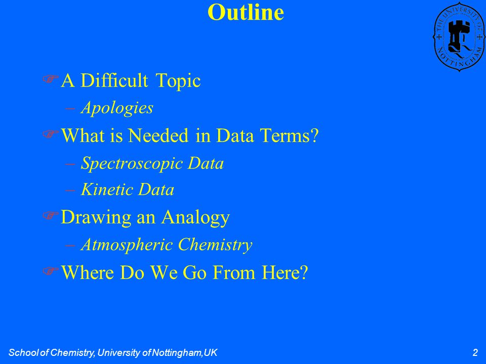 School of Chemistry, University of Nottingham,UK 2  A Difficult Topic –Apologies  What is Needed in Data Terms? –Spectroscopic Data –Kinetic Data 