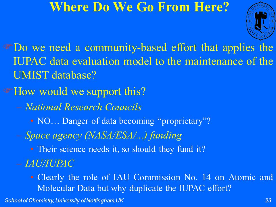 School of Chemistry, University of Nottingham,UK 23 Where Do We Go From Here?  Do we need a community-based effort that applies the IUPAC data evalua