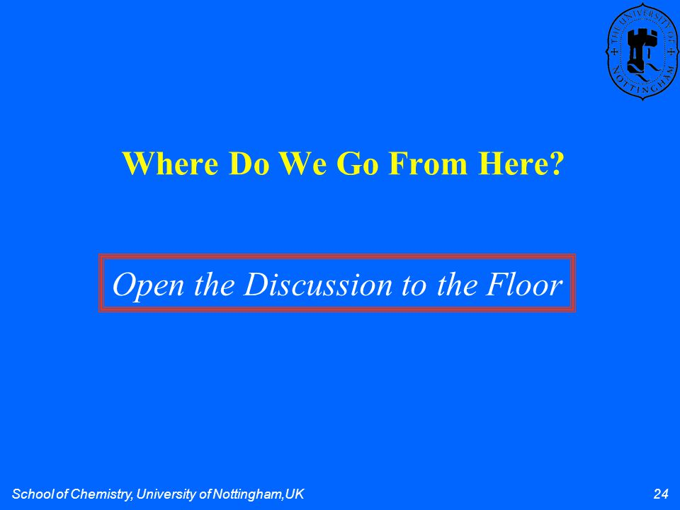 School of Chemistry, University of Nottingham,UK 24 Where Do We Go From Here? Open the Discussion to the Floor