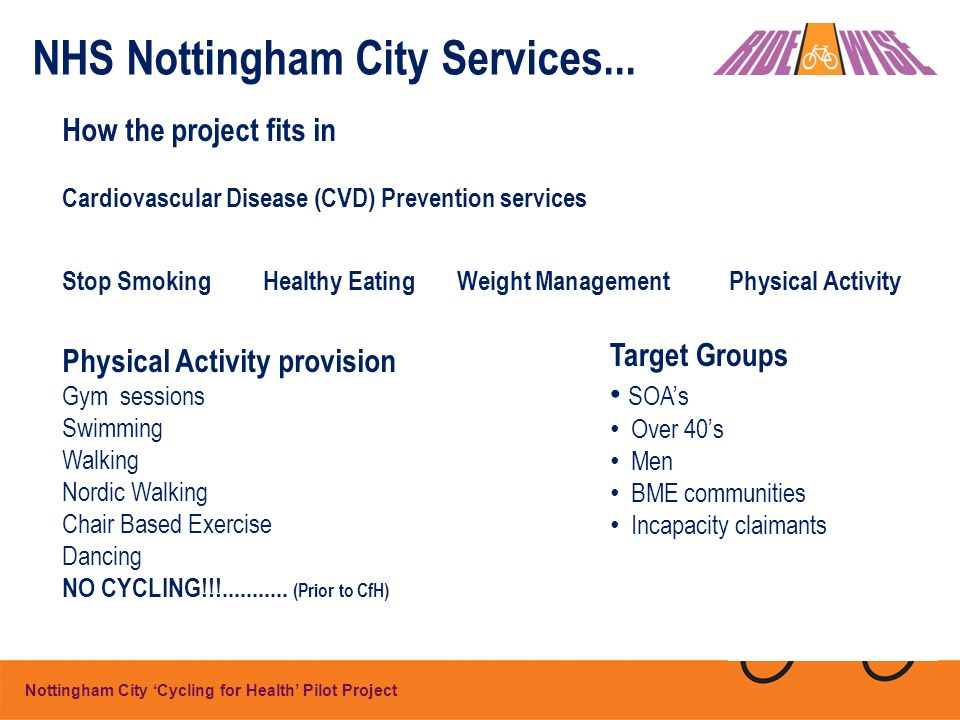 Nottingham City 'Cycling for Health' Pilot Project NHS Nottingham City Services...
