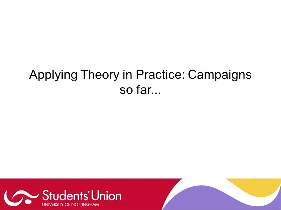 Applying Theory in Practice: Campaigns so far...
