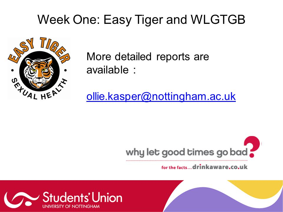 Week One: Easy Tiger and WLGTGB More detailed reports are available : ollie.kasper@nottingham.ac.uk