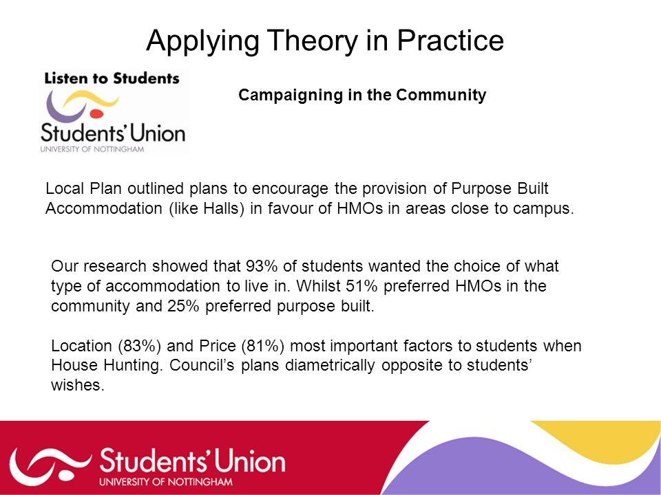Applying Theory in Practice Campaigning in the Community Local Plan outlined plans to encourage the provision of Purpose Built Accommodation (like Halls) in favour of HMOs in areas close to campus.