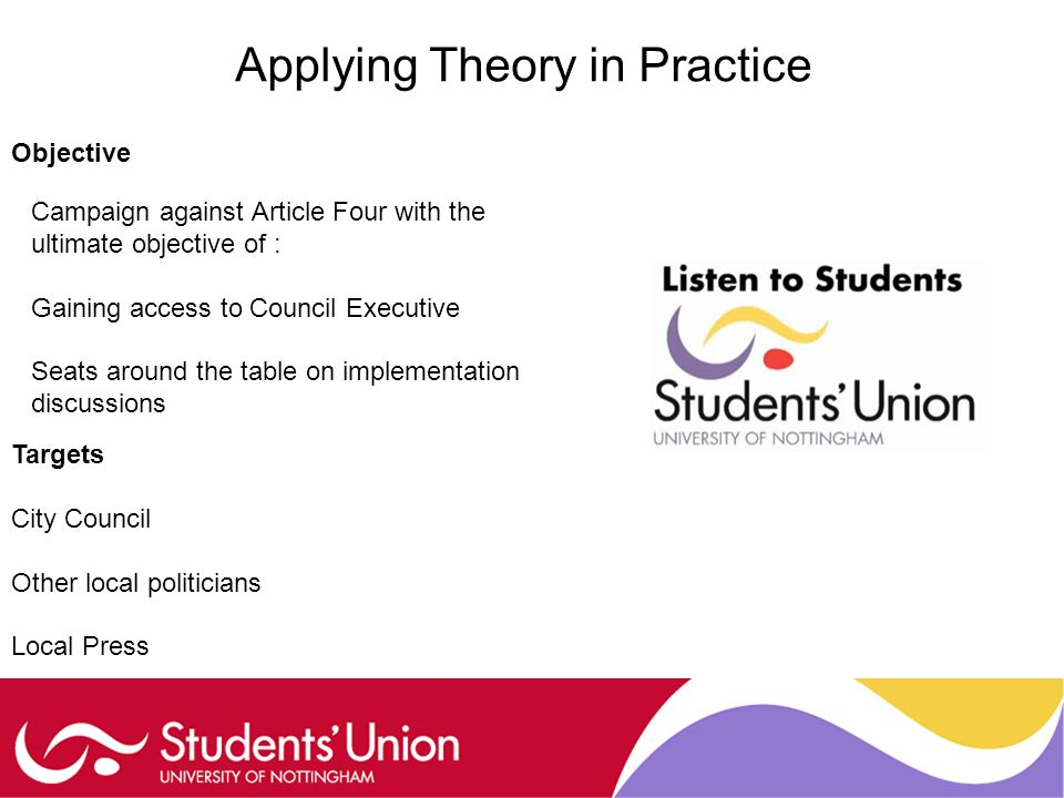 Applying Theory in Practice Objective Campaign against Article Four with the ultimate objective of : Gaining access to Council Executive Seats around the table on implementation discussions Targets City Council Other local politicians Local Press