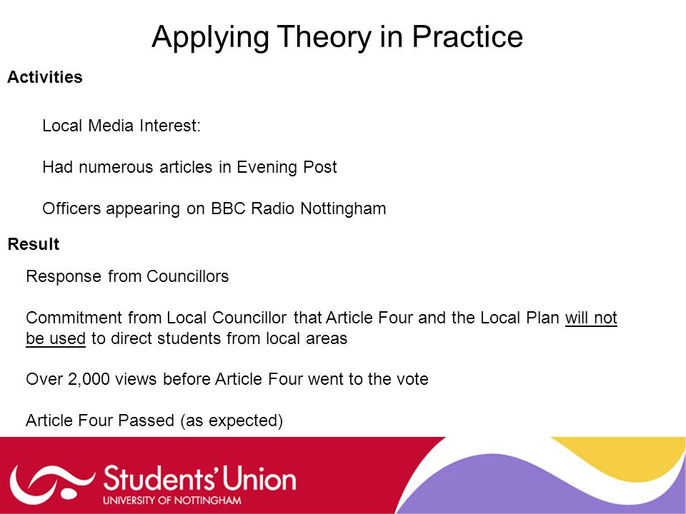 Applying Theory in Practice Activities Local Media Interest: Had numerous articles in Evening Post Officers appearing on BBC Radio Nottingham Result Response from Councillors Commitment from Local Councillor that Article Four and the Local Plan will not be used to direct students from local areas Over 2,000 views before Article Four went to the vote Article Four Passed (as expected)