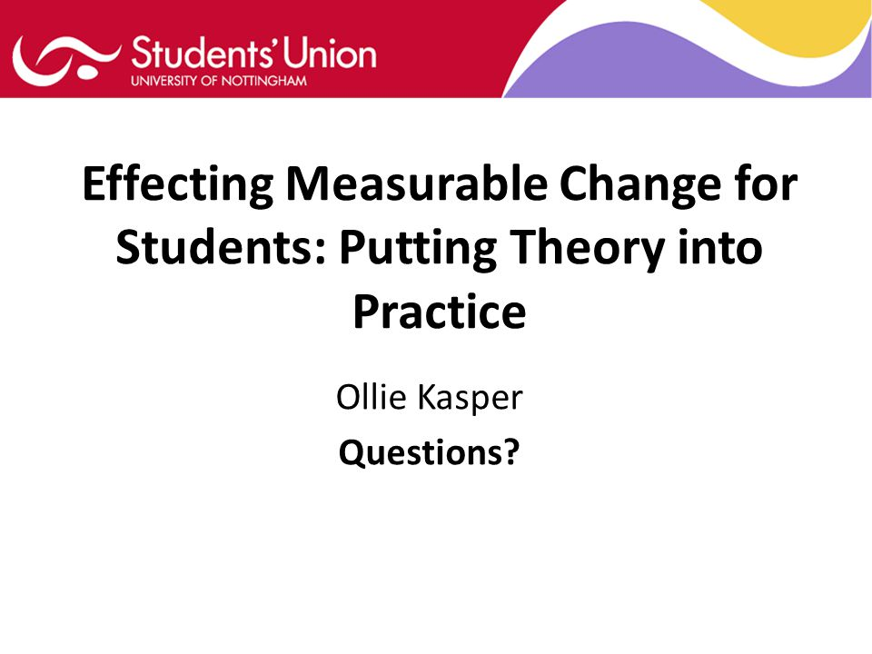 Effecting Measurable Change for Students: Putting Theory into Practice Ollie Kasper Questions