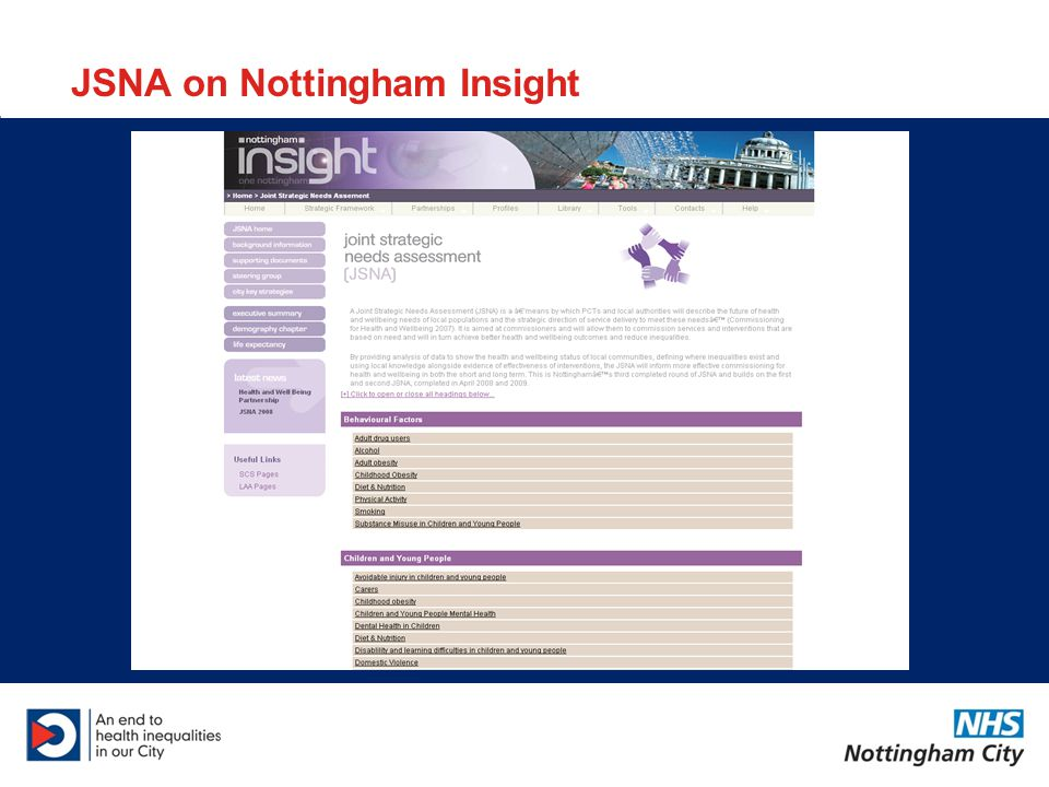 JSNA on Nottingham Insight