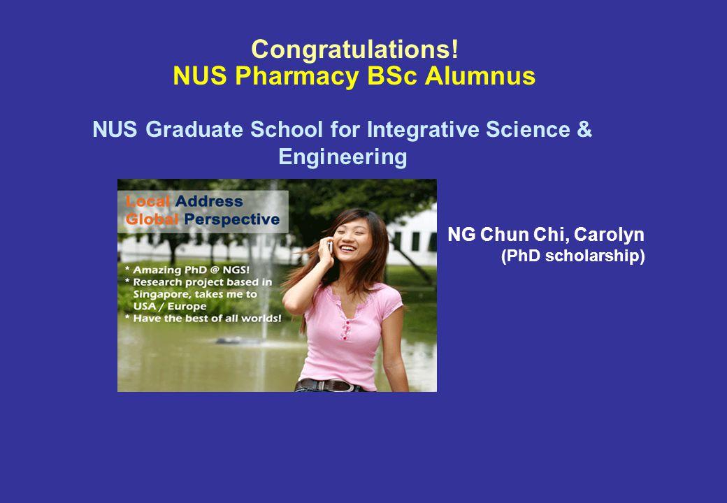 NUS Pharmacy BSc Alumni = A*STAR Scholars + Scientists