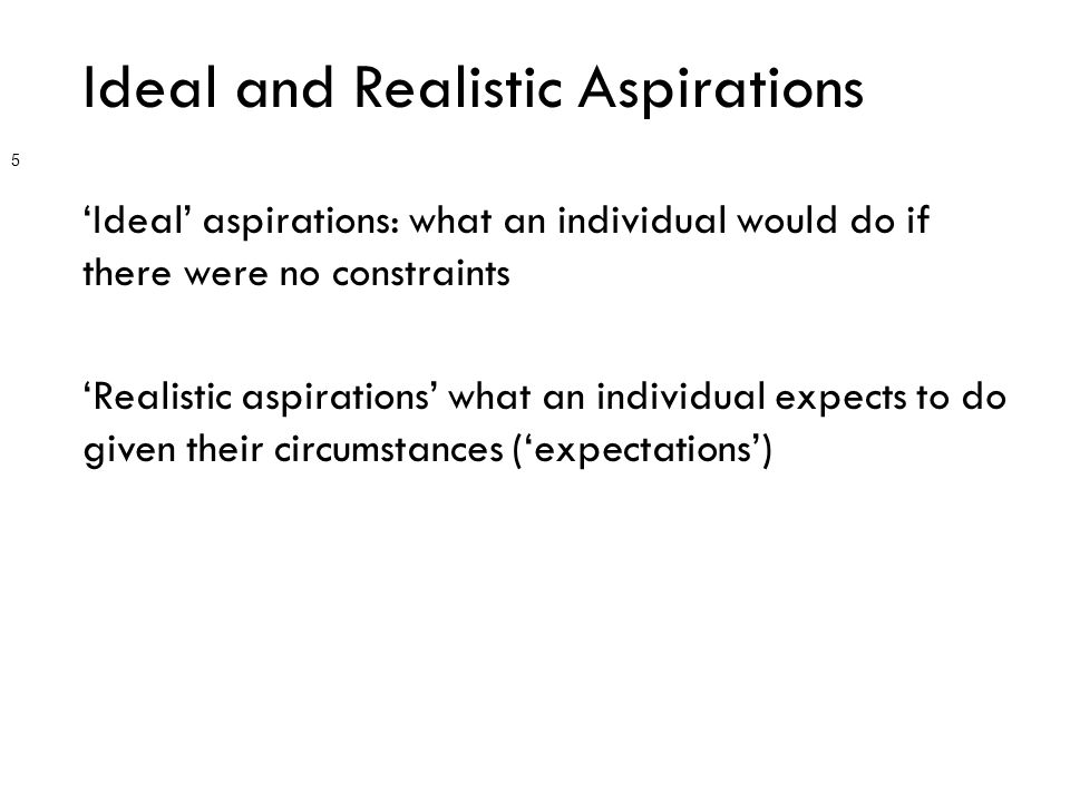 Ideal and Realistic Aspirations 'Ideal' aspirations: what an individual would do if there were no constraints 'Realistic aspirations' what an individual expects to do given their circumstances ('expectations') 5