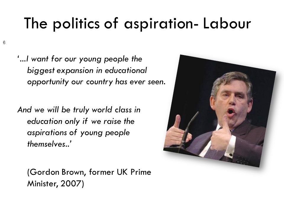 The politics of aspiration- Labour '...I want for our young people the biggest expansion in educational opportunity our country has ever seen.