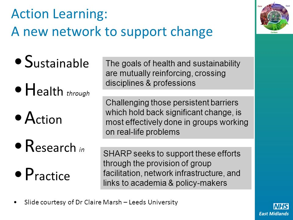 Action Learning: A new network to support change S ustainable H ealth through A ction R esearch in P ractice Slide courtesy of Dr Claire Marsh – Leeds University The goals of health and sustainability are mutually reinforcing, crossing disciplines & professions SHARP seeks to support these efforts through the provision of group facilitation, network infrastructure, and links to academia & policy-makers Challenging those persistent barriers which hold back significant change, is most effectively done in groups working on real-life problems