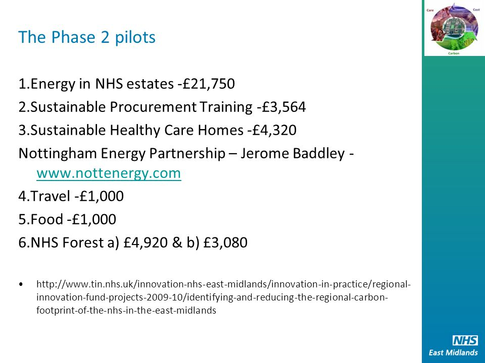 The Phase 2 pilots 1.Energy in NHS estates -£21,750 2.Sustainable Procurement Training -£3,564 3.Sustainable Healthy Care Homes -£4,320 Nottingham Energy Partnership – Jerome Baddley - www.nottenergy.com www.nottenergy.com 4.Travel -£1,000 5.Food -£1,000 6.NHS Forest a) £4,920 & b) £3,080 http://www.tin.nhs.uk/innovation-nhs-east-midlands/innovation-in-practice/regional- innovation-fund-projects-2009-10/identifying-and-reducing-the-regional-carbon- footprint-of-the-nhs-in-the-east-midlands
