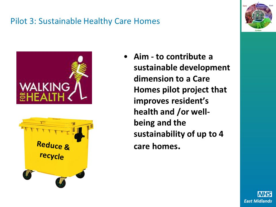 Pilot 3: Sustainable Healthy Care Homes Aim - to contribute a sustainable development dimension to a Care Homes pilot project that improves resident's health and /or well- being and the sustainability of up to 4 care homes.