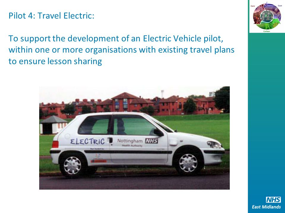 Pilot 4: Travel Electric: To support the development of an Electric Vehicle pilot, within one or more organisations with existing travel plans to ensure lesson sharing