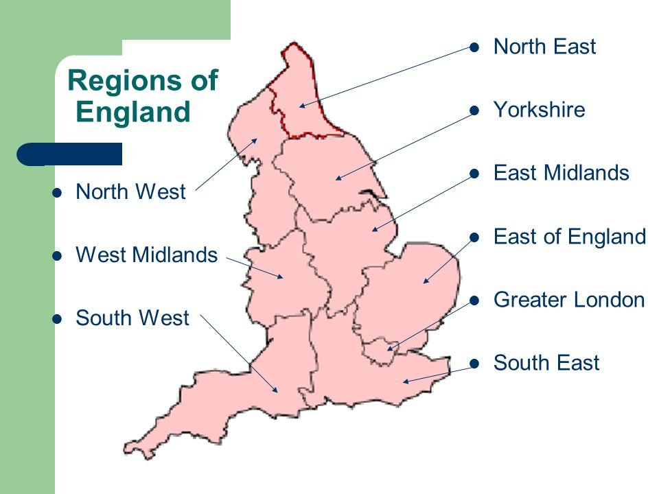 Regions of England North West West Midlands South West North East Yorkshire East Midlands East of England Greater London South East