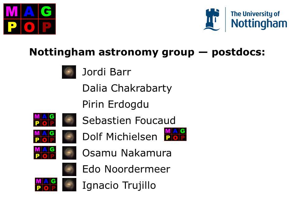 Nottingham astronomy group — postdocs: Jordi Barr Dalia Chakrabarty Pirin Erdogdu Sebastien Foucaud Dolf Michielsen Osamu Nakamura Edo Noordermeer Ignacio Trujillo