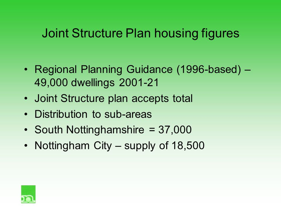 Joint Structure Plan housing figures Regional Planning Guidance (1996-based) – 49,000 dwellings 2001-21 Joint Structure plan accepts total Distributio
