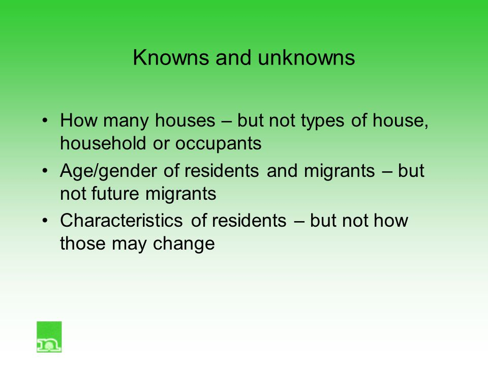 Knowns and unknowns How many houses – but not types of house, household or occupants Age/gender of residents and migrants – but not future migrants Ch