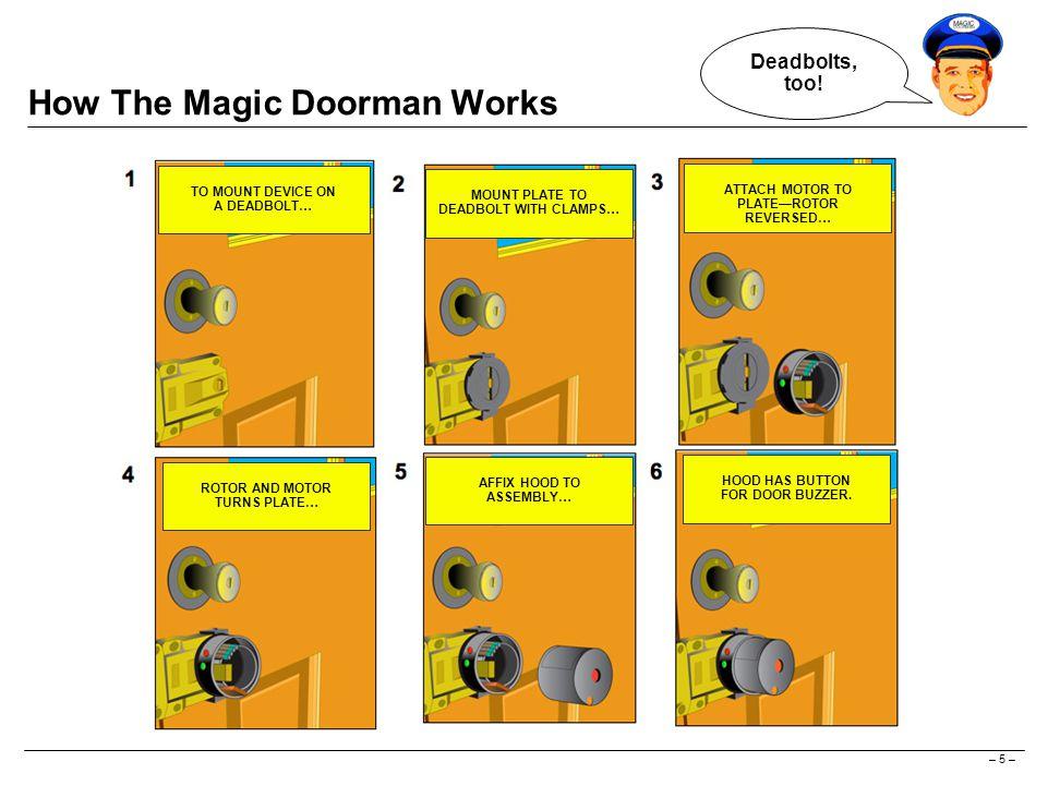 – 5 – How The Magic Doorman Works Deadbolts, too.